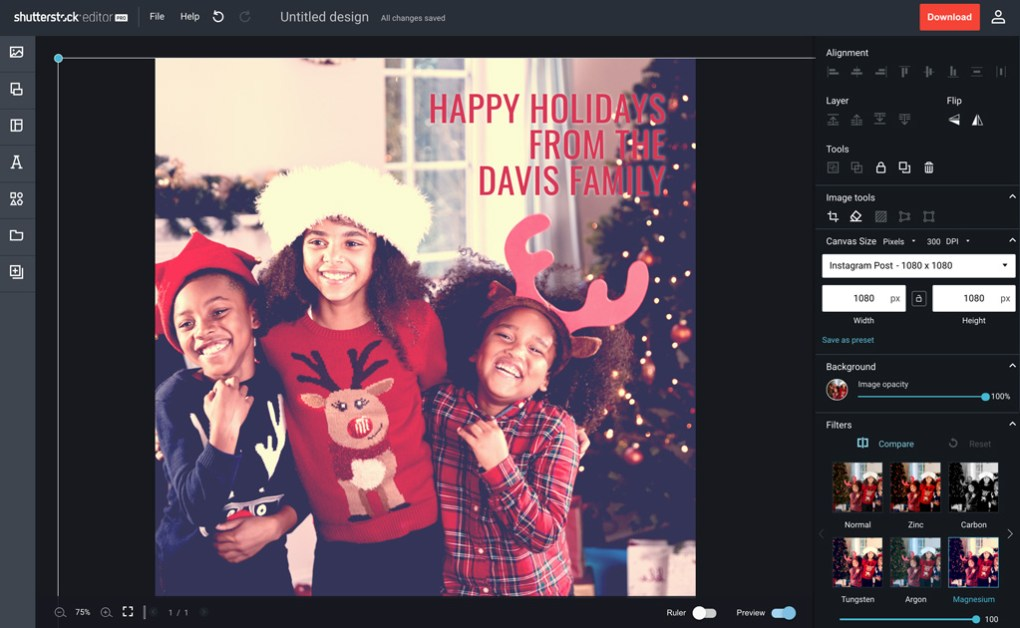 Designing Christmas Cards with Shutterstock Editor