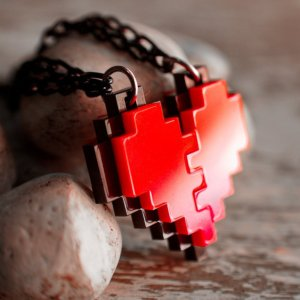 Couples 8-Bit Heart Necklace Legend of Zelda Shut Up And Take My Yen : Anime & Gaming Merchandise
