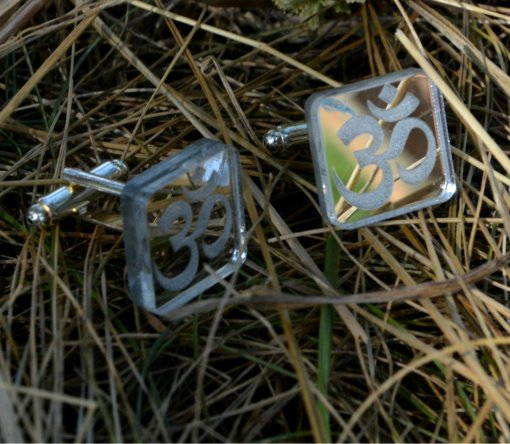 Om cuff links rectangle mirror plastic lasercut and engraved 1