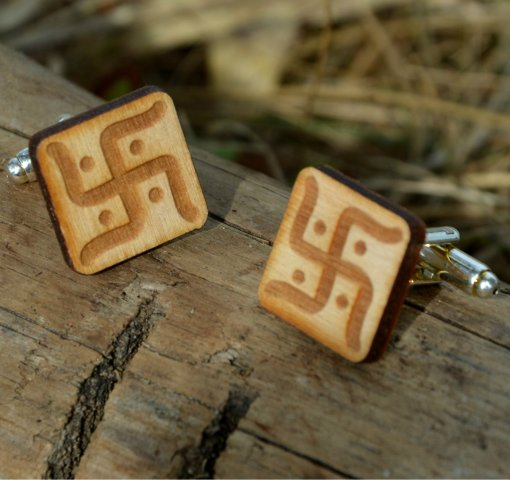 vedic swastica cuff links engraved symbol rectangle