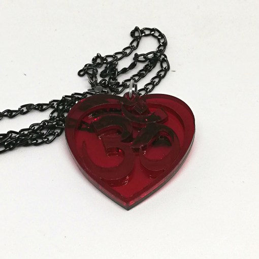 OM Necklace transparent red- AUM Pendant with black chain