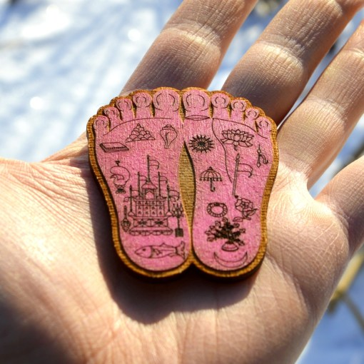 Shrimati Radharani Lotus feet wooden Red Color handmade painted and lasercut1