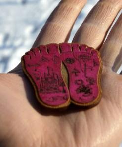 Shrimati Radharani Lotus feet wooden Red Color handmade painted and lasercut2