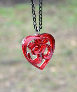 OM Necklace red acrylic- AUM Pendant with black chain