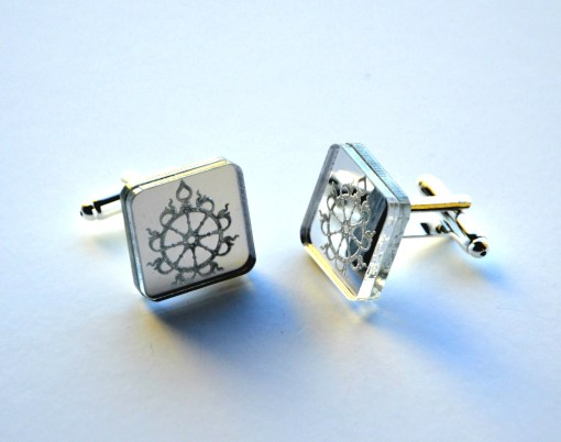 Sudarshana Chakra Cuff links laser cut mirror acrylic2