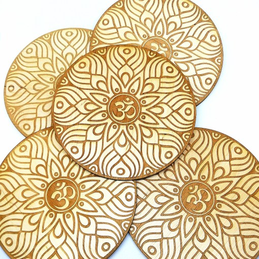 Om AUM wooden coaster laser cut and engraved 111111