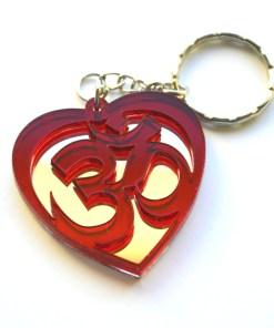 OM red Heart shape keychain 2
