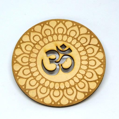 Om Coaster lasercut logo engraved ornament 2