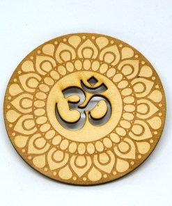 Om Coaster lasercut logo engraved ornament 2