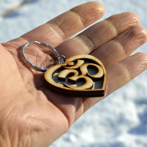Om Heart Wooden Keychain 2