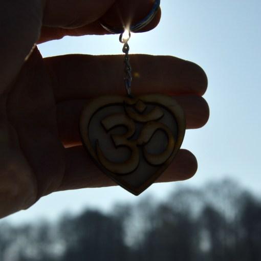 Om Heart Wooden Keychain 4