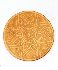 Ornament coaster engraved from wood