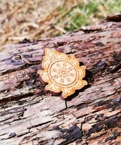 Sudarshana Chakra wooden Brooch 4