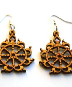 Sudarshana Chakra wooden earrings 1