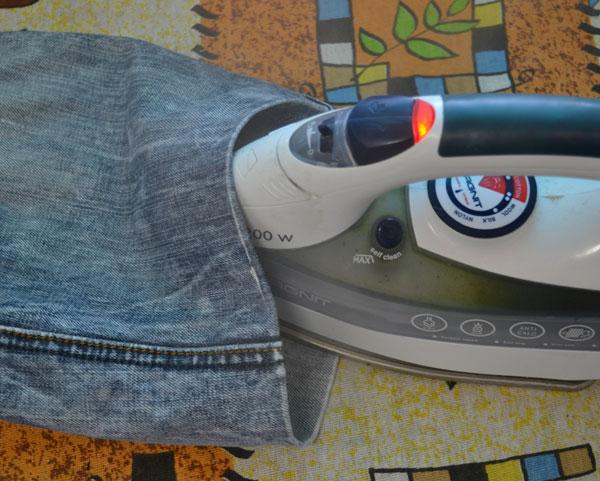 Подготовка подгибки джинсов