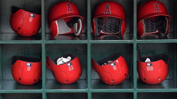 Los Angeles Angels helmets.