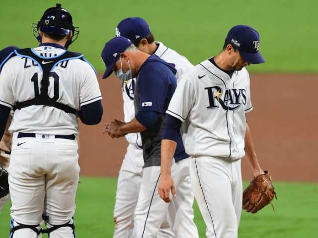 Tampa Bay Rays starting pitcher Charlie Morton (50) is relieved against the Houston Astros during the sixth inning in game seven of the 2020 ALCS at Petco Park.