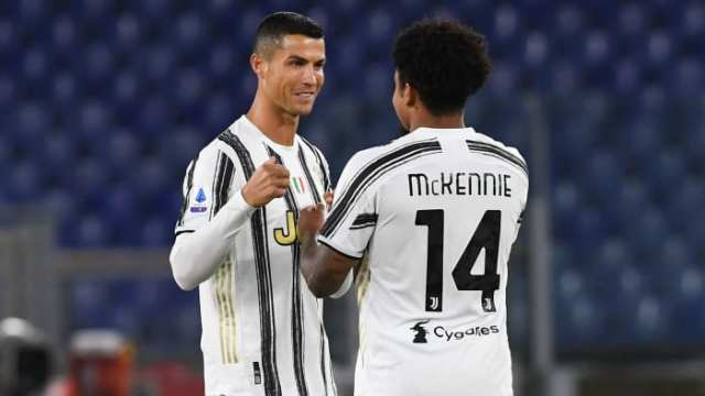 Juventus's Cristiano Ronaldo and Weston McKennie