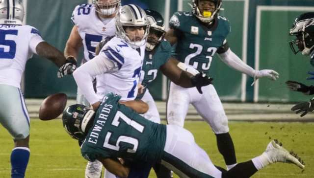 Eagles' T.J. Edwards forces the fumble as he brings down Dallas quarterback Ben DiNucci (7) Sunday, Nov. 1, 2020, at Lincoln Financial Field