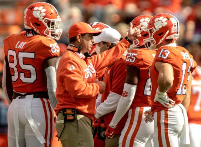 Clemson coach Dabo Swinney gives instructions