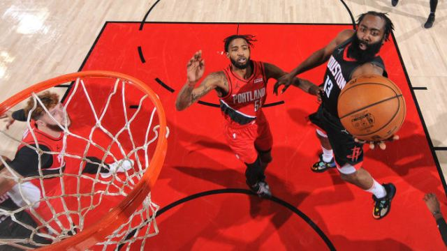 James Harden attempts layup against the Blazers