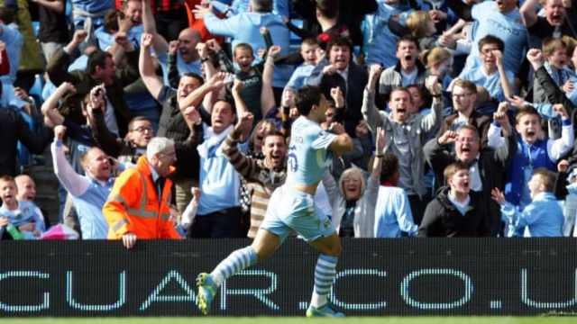 Sergio Aguero scores the Premier League-winning goal in 2012