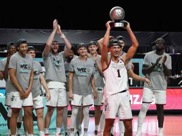 Gonzaga's Jalen Suggs lifts the WCC tournament MVP trophy