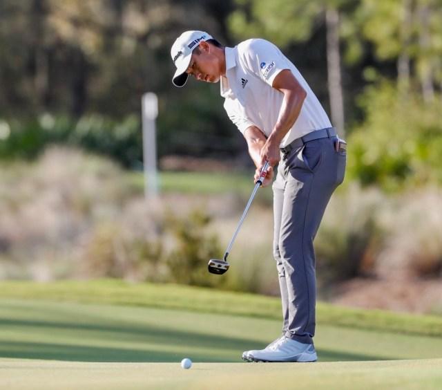 Collin Morikawa hits a putt at the Workday Championships