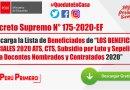 """Decreto Supremo N° 175-2020-EF.- Descarga la Lista de Beneficiados de """"LOS BENEFICIOS SOCIALES 2020 ATS, CTS, Subsidio por Luto y Sepelio para Docentes Nombrados y Contratados 2020"""""""
