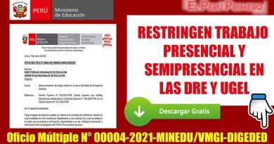 RESTRINGEN TRABAJO PRESENCIAL Y SEMIPRESENCIAL EN LAS DRE Y UGEL [Oficio Múltiple N° 00004-2021-MINEDU/VMGI-DIGEDED]