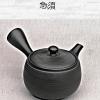 Kyusu Teapot, black, 360ml, clay, handmade