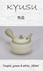Japanese Sidearm Teapot (Kyusu), green and white structure pattern, 380 ml