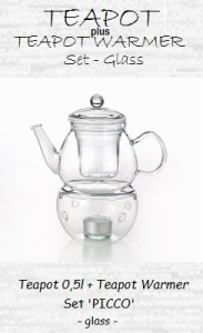 Glass teapot with teapot warmer and strainer insert