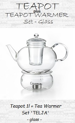 Glass Teapot with Warmer, Set 'Telja'; teapot 1.2l, teapot warmer Ø 13.5 cm x height 8.2 cm