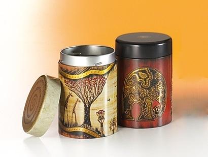 Tea Caddy Set 'African Life' - metal, round, with screw cap