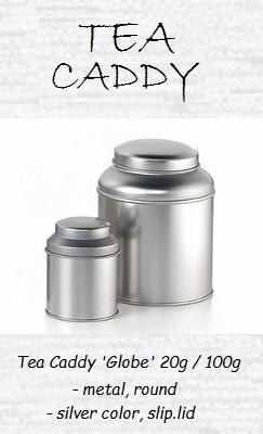 Tea Caddy Globe - metal, round, slip-lid
