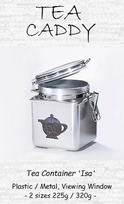 Tea Caddy Set 'Isa' - metal, round, aroma seal lid