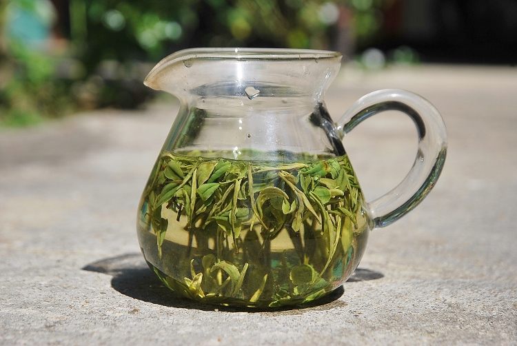 Zi Sun Cha green tea leaves unfolding in the infusion