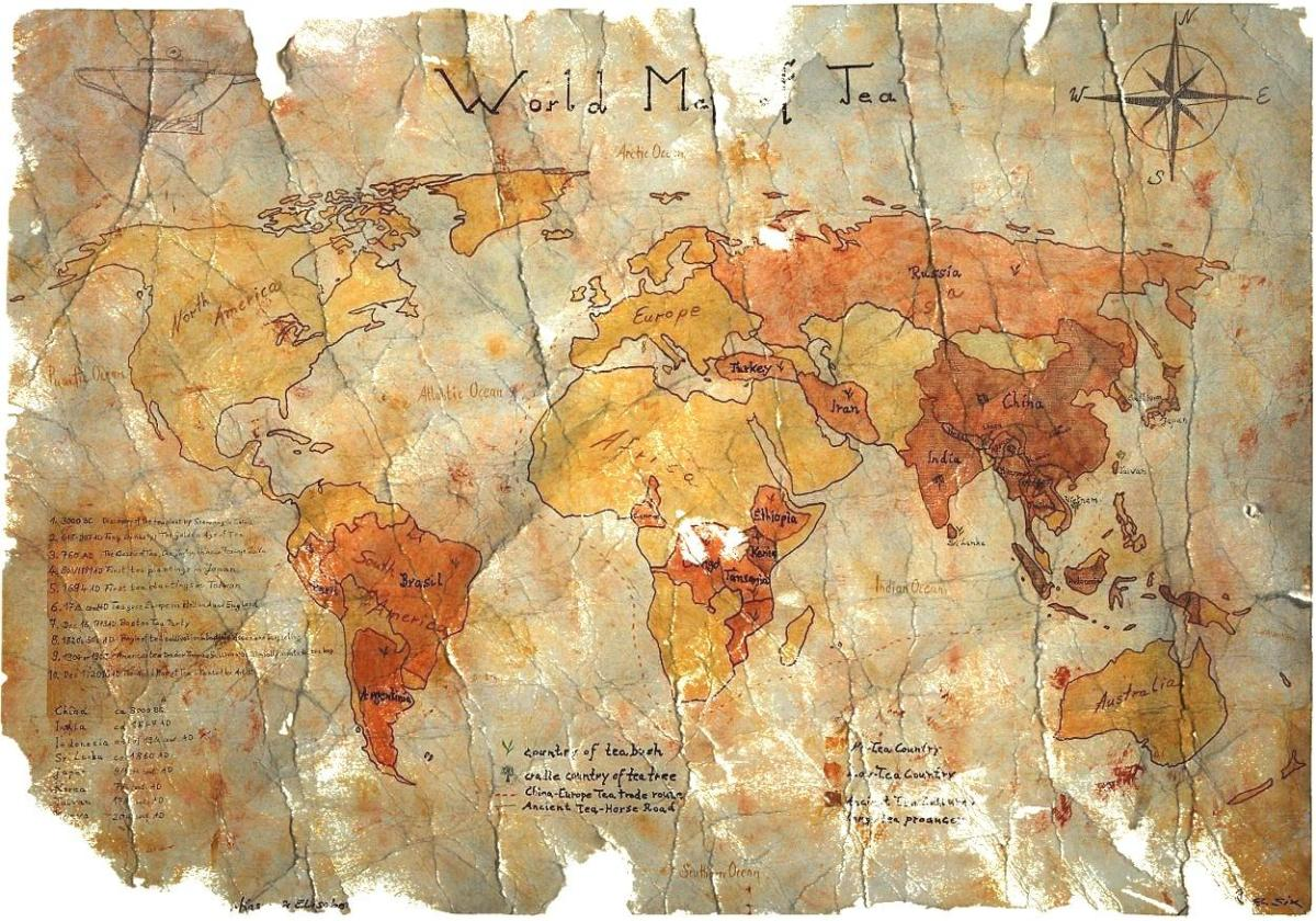The World Map of Tea - Painted by Artist : Vintage Style