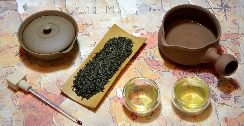 Tamaryokucha - special type of Japanese green tea, with the leaves open-rolled instead of the needle shape that is characteristic for Sencha teas