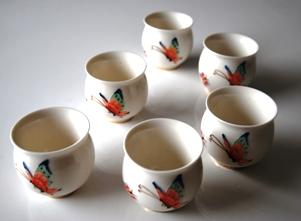 Chinesisches Teebecher-Set, Porzellan, doppelwandig