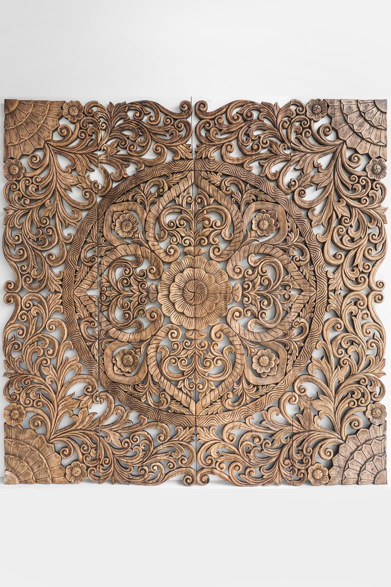 king size balinese bed headboard wood carving