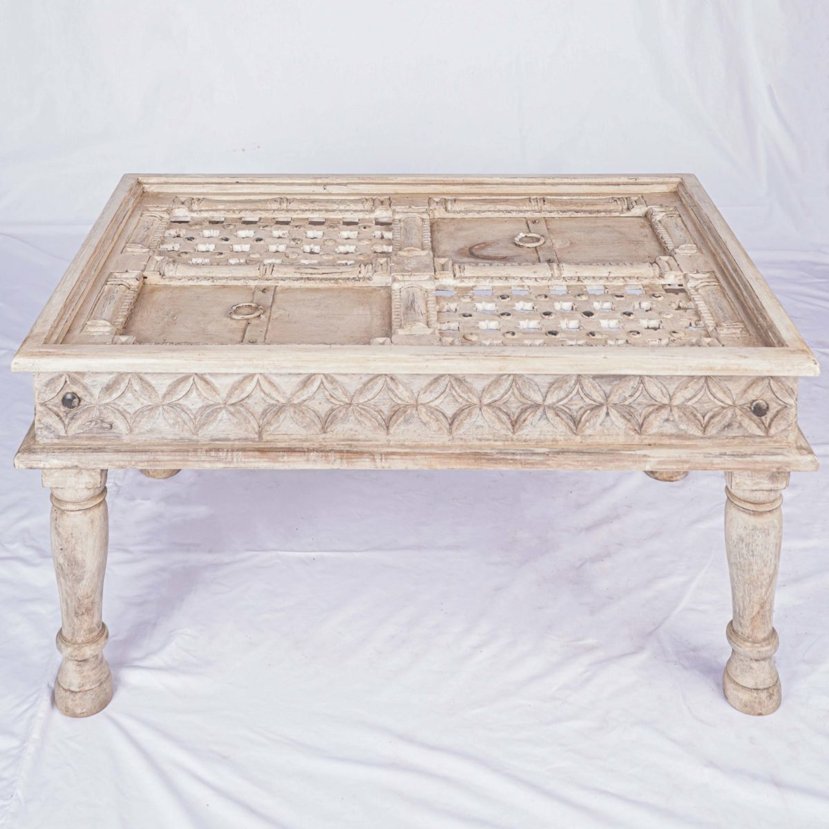 hand carved wooden vintage coffee table indian design