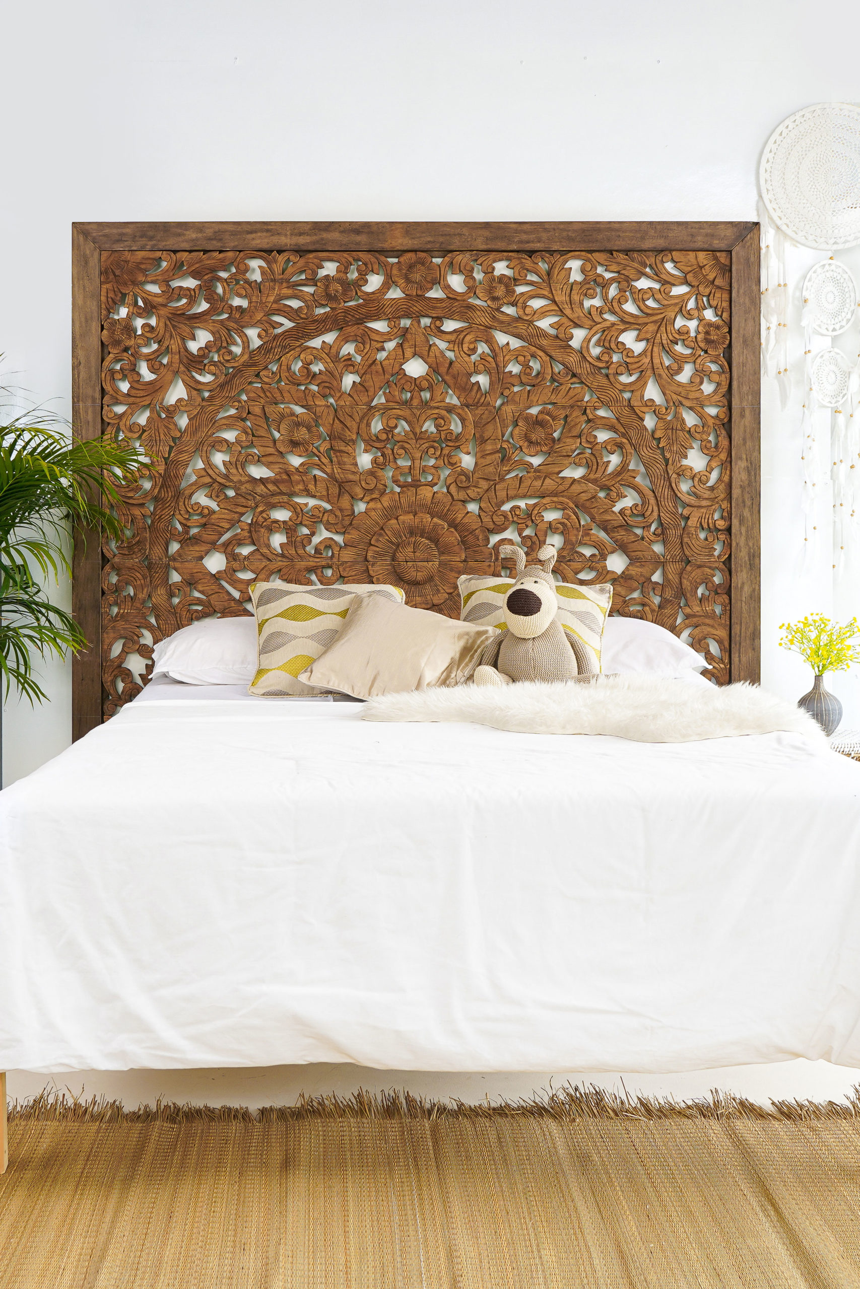 super king sized carved headboard cottage decor