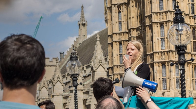Sian speaking for voting reform at Parliament