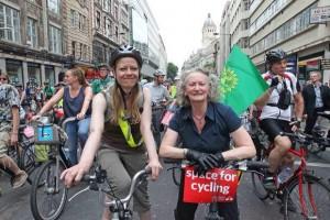 Cycling demo Sian Berry Jenny Jones