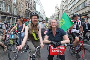 Cycling demo Sian Berry Jenny Jones