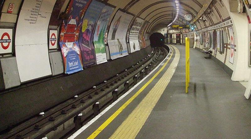 Empty tube platform Kentish Town