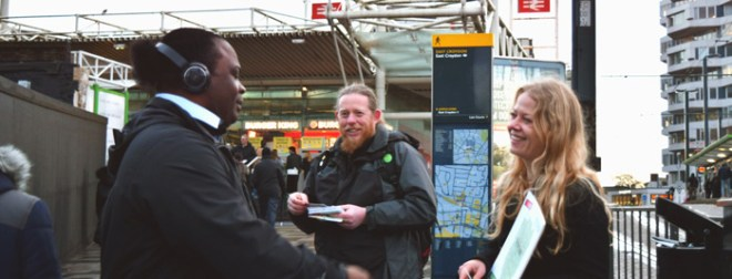 Sian Berry with commuters in Croydon