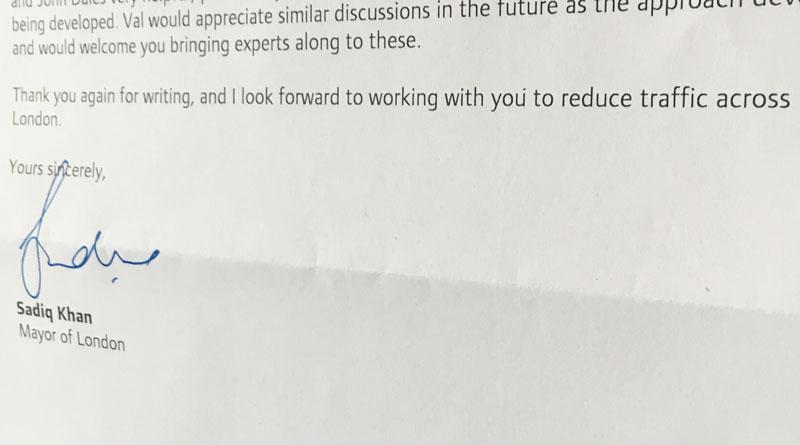Letter from Sadiq Khan on traffic reduction